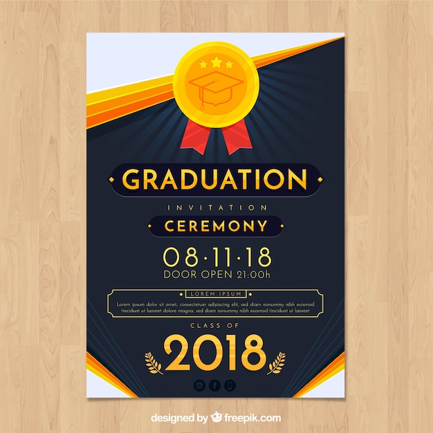 Elegant Graduation Invitation Template With Flat Design Vector