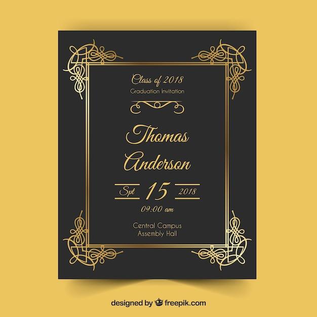 elegant graduation invitation template with golden style vector