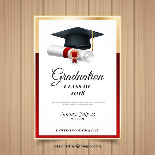 elegant graduation invitation template with realistic
