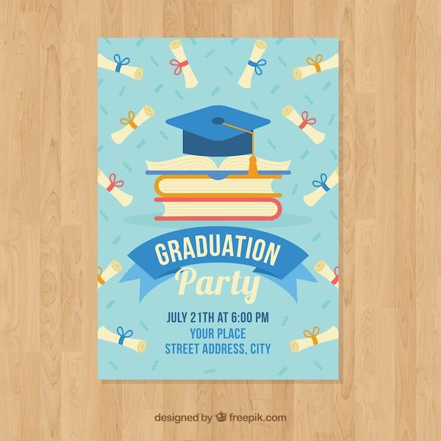 Elegant graduation invitation template Premium Vector