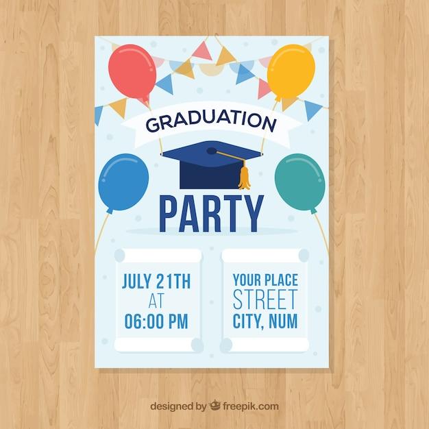 elegant graduation invitation template vector free download