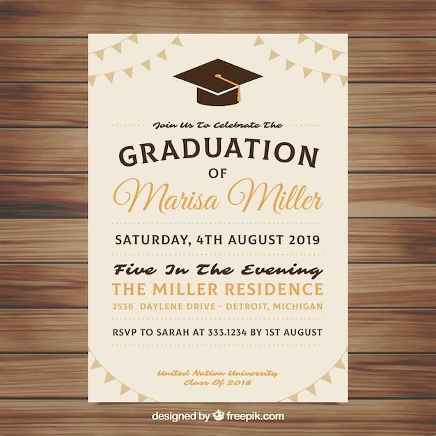Elegant Graduation Invitation Template Vector