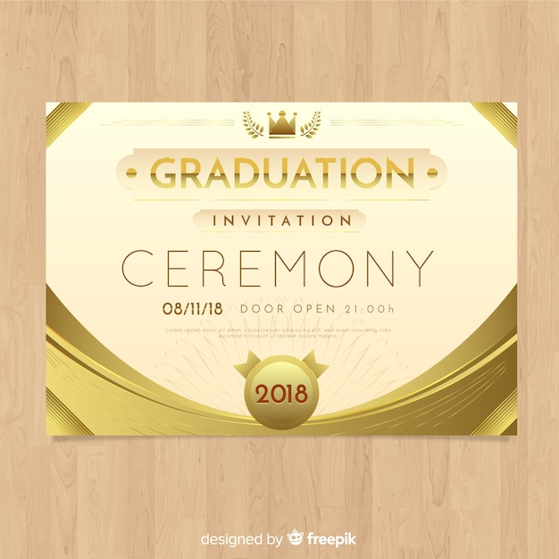 Elegant Graduation Invitation With Golden Style Free Vector