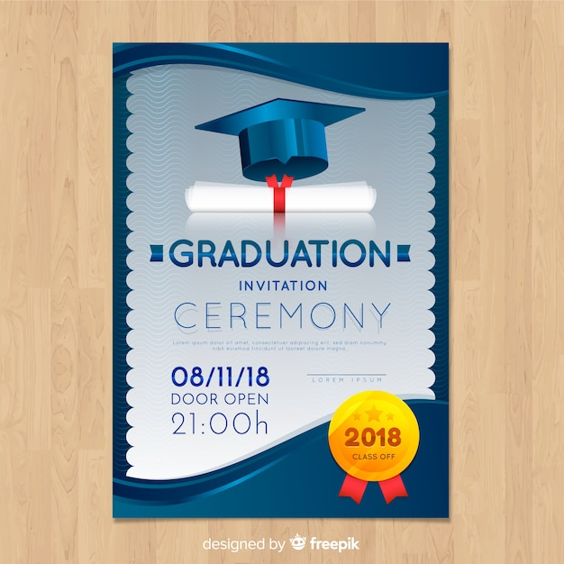 Elegant Graduation Invitation With Realistic Design Vector