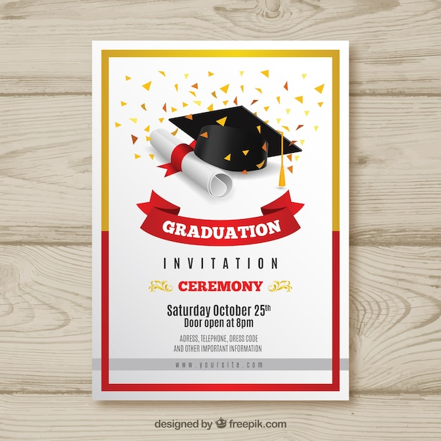 Elegant graduation invitation with realistic design Free Vector