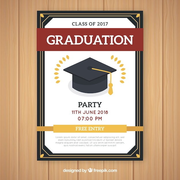 Elegant Graduation Party Invitation Template With Flat Design Vector