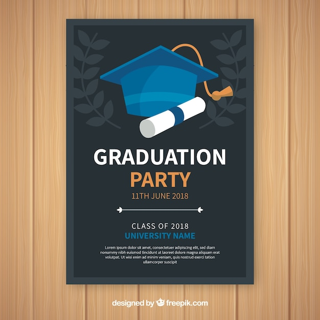 Graduation Party Invitations Templates | Elegant Graduation Party Invitation Template With Flat Design Vector