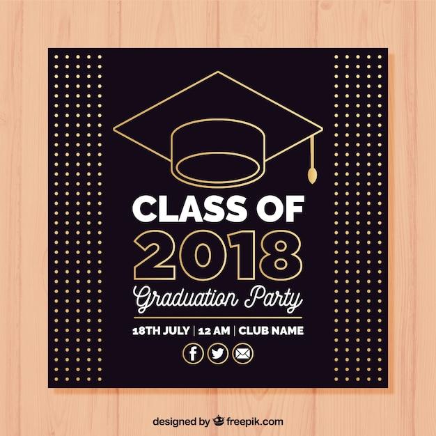 elegant graduation party invitation template with flat design vector