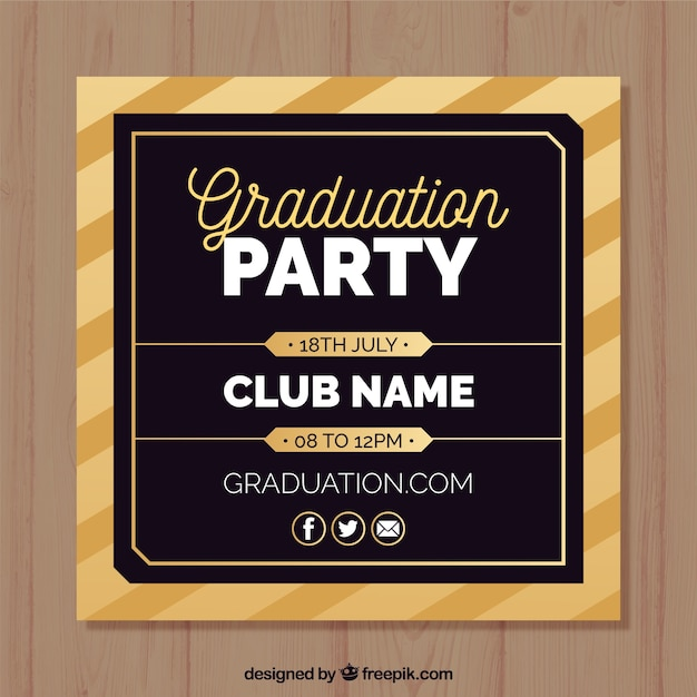 Elegant graduation party invitation template with flat design vector elegant graduation party invitation template with flat design free vector maxwellsz