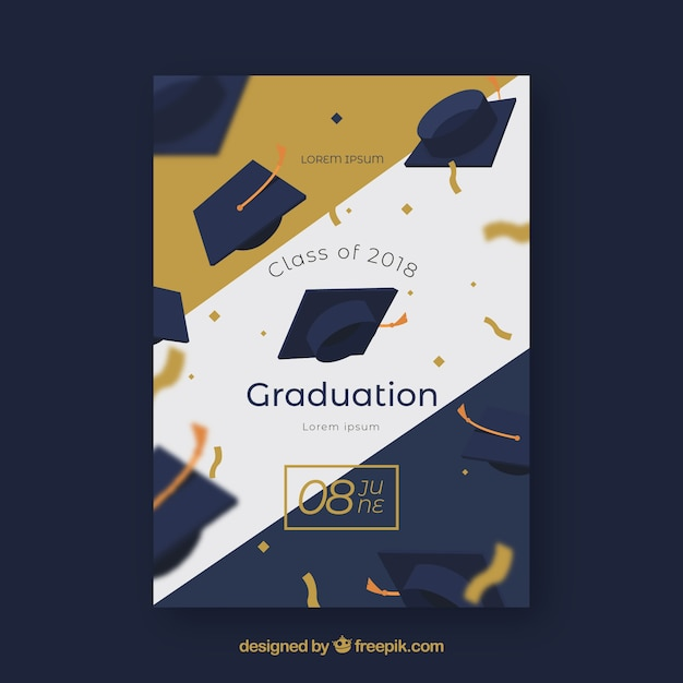 Elegant graduation party invitation with golden style Free Vector