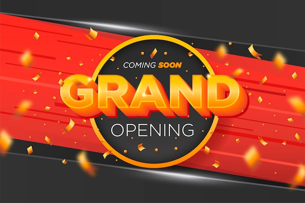 Elegant grand opening banner with golden confetti Free Vector