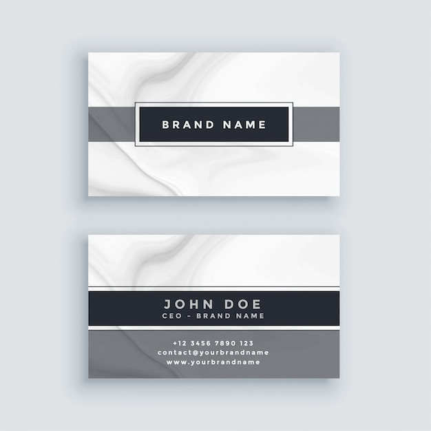 Elegant gray business card template with marble backdrop Free Vector