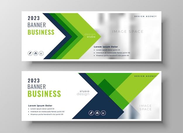 Elegant green business presentation banner Free Vector