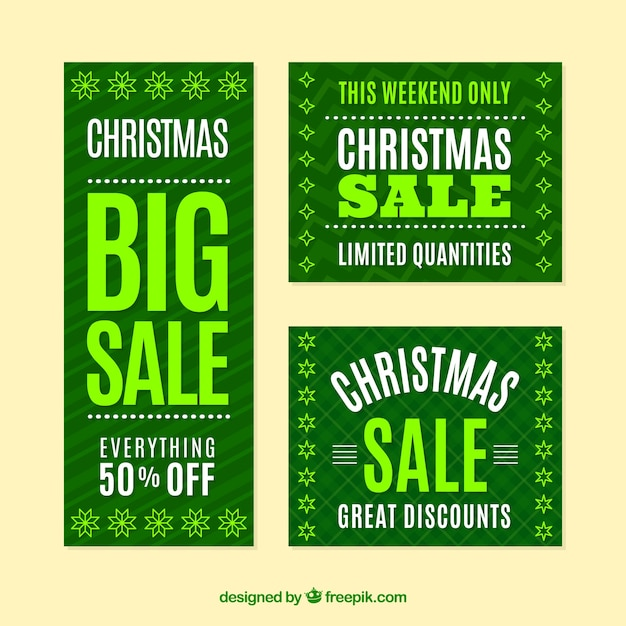 Elegant green christmas sale banners