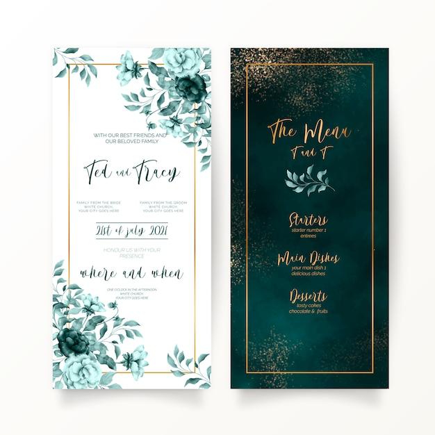 Элегантные зеленые цветочные и акварельные свадебные канцтовары Бесплатные векторы