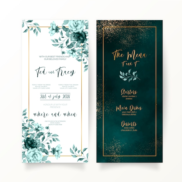 Elegant green floral and watercolor wedding stationery Free Vector