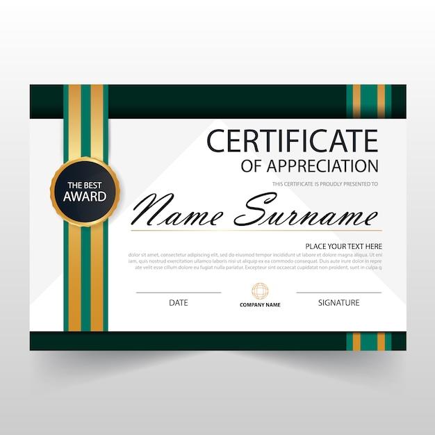 Elegant green horizontal certificate template