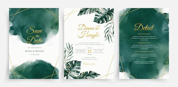 セットのウェディングカードテンプレートにエレガントな緑の水彩画と熱帯の葉 Premiumベクター