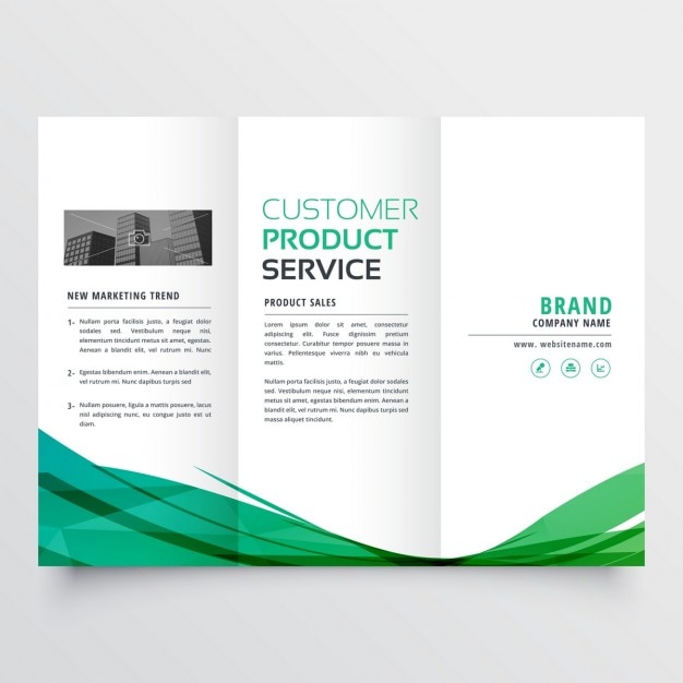 Elegant green wavy tri fold brochure for your business Free Vector