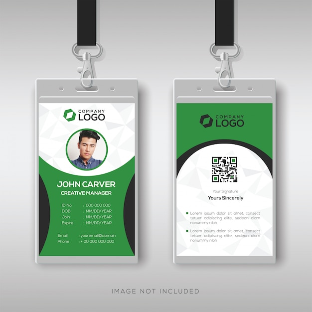 Elegant green and white id card template Premium Vector