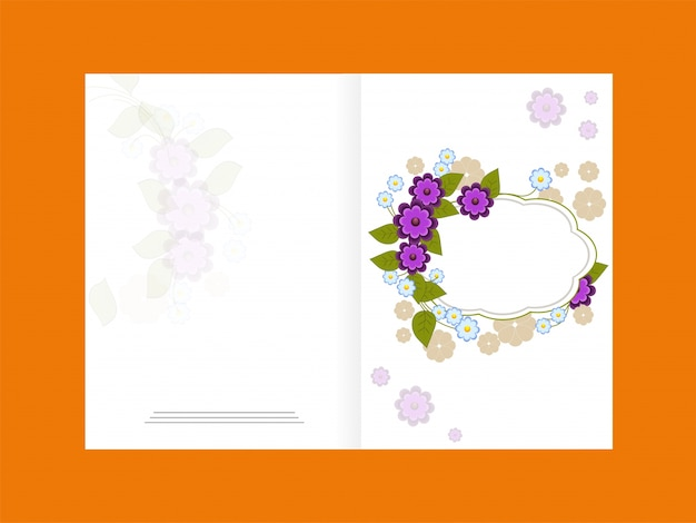 Elegant greeting card design decorated with\ beautiful purple flowers and space for your wishes.