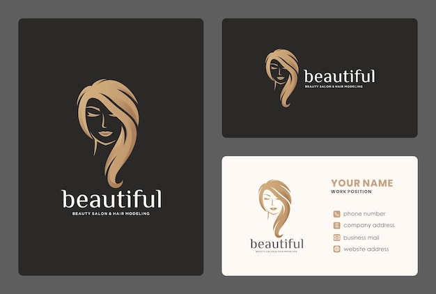 Elegant hair salon / beauty women logo design with business card template. Premium Vector