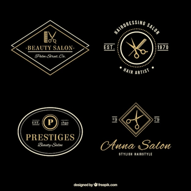 elegant hair salon logos vector free download