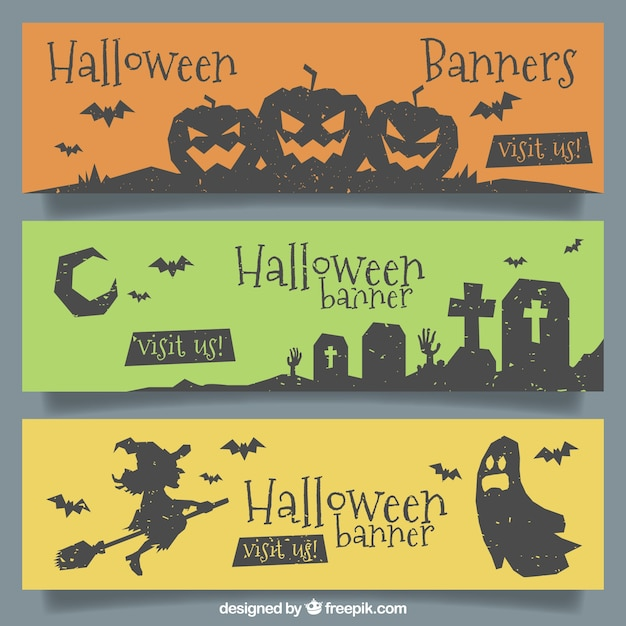 Elegant halloween banners with modern style