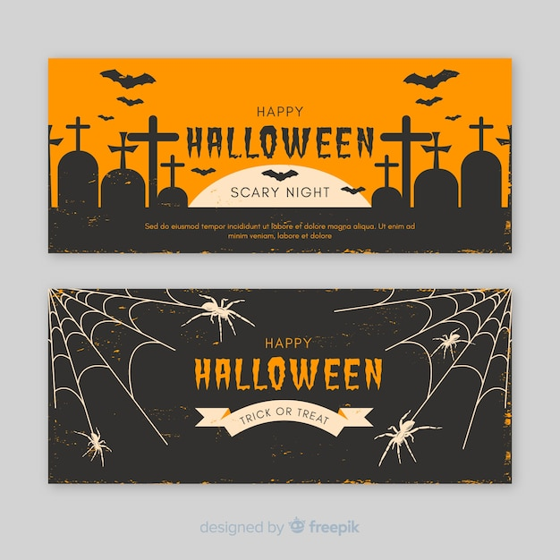 Elegant halloween banners with vintage style Free Vector