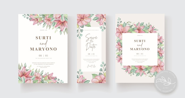 Элегантная рука рисунок свадебное приглашение цветочный дизайн Бесплатные векторы
