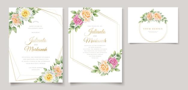 エレガントな手描きの結婚式の招待状の花柄 無料ベクター
