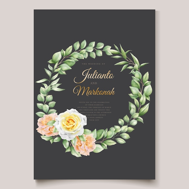 Элегантный ручной рисунок свадебное приглашение цветочный дизайн Бесплатные векторы