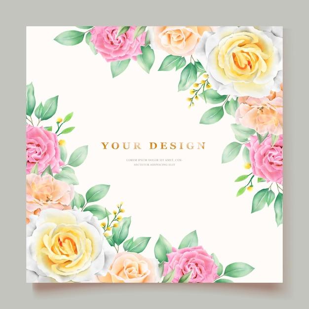 Elegante mano disegno invito a nozze floreale Vettore gratuito