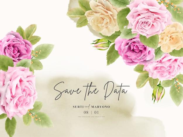 Invito a nozze disegno a mano elegante con disegno floreale Vettore gratuito