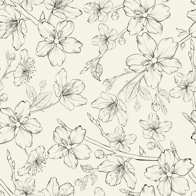 Elegant hand drawn background decorated with flowers Premium Vector