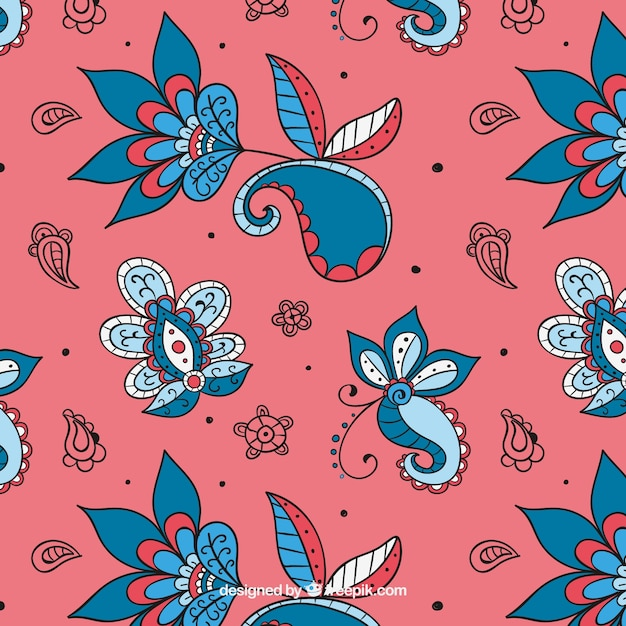 Elegant Hand Drawn Batik Floral Pattern Vector