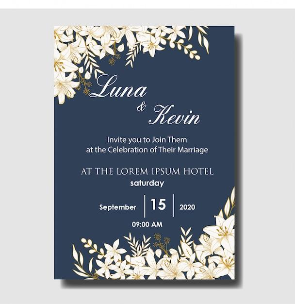 Elegant hand drawn floral wedding invitation card template Premium Vector