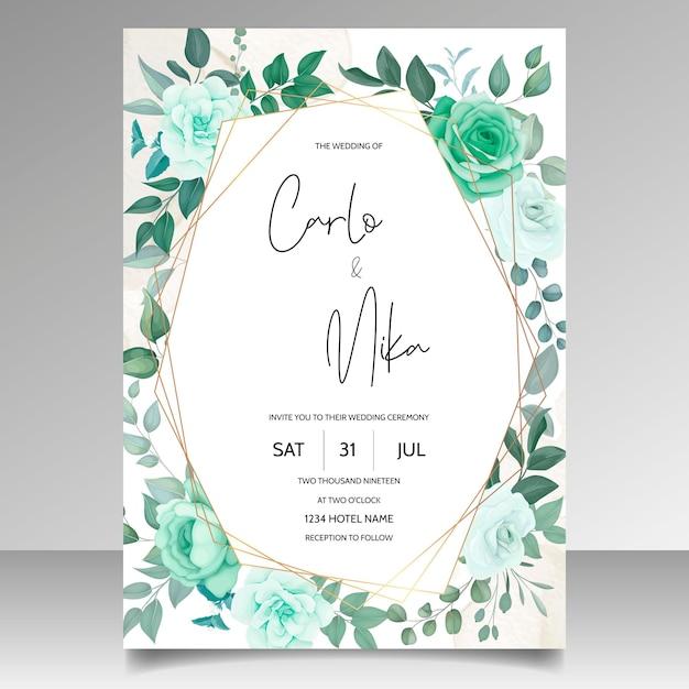 우아한 손으로 그린 꽃 결혼식 초대 카드 무료 벡터