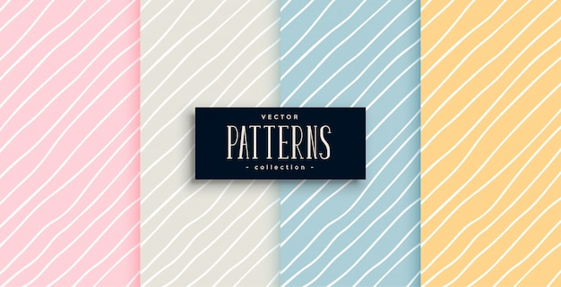 Elegant hand drawn lines patterns in four colors Free Vector