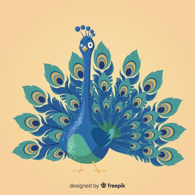 Elegant hand drawn peacock Free Vector