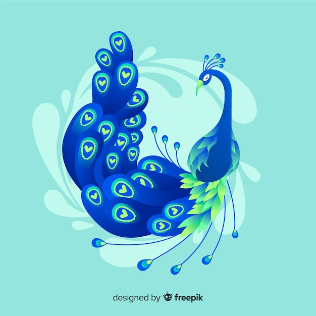 Elegant hand drawn peacock Free Vector