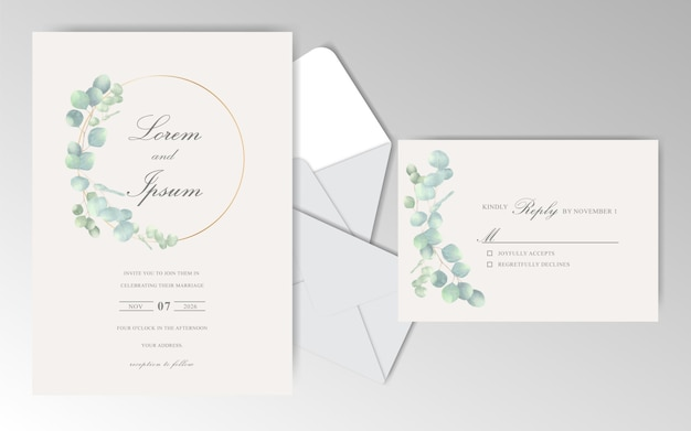 Elegant hand drawn wedding invitation card with leaves Premium Vector