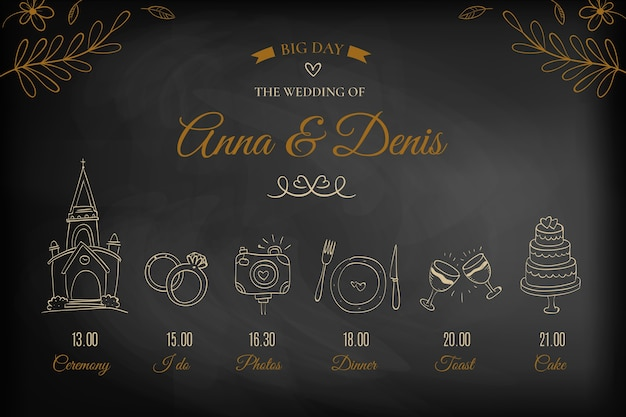 Elegant hand drawn wedding timeline Free Vector