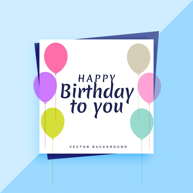 Elegant Happy Birthday Card Design With Colorful Balloons Vector