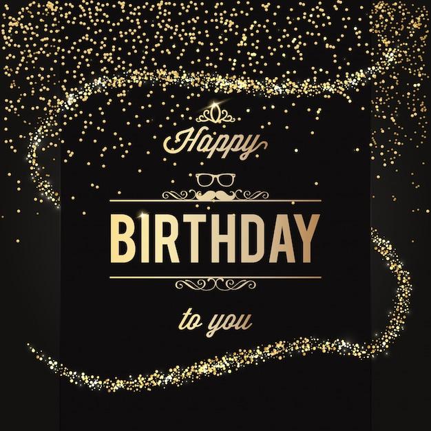 Elegant Happy Birthday Design With Glitter Vector Premium Download