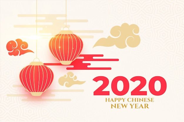 Elegant happy chinese new year design in traditional style Free Vector