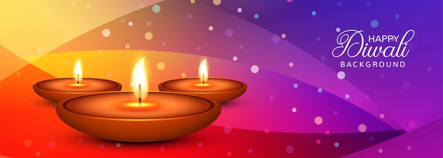 Elegant happy diwali colorful banner vector Premium Vector