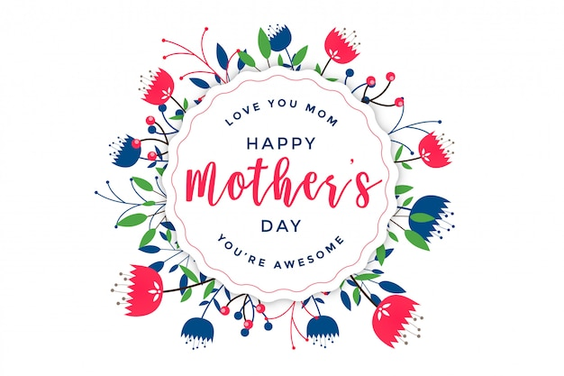 Elegant happy mother's day floral greeting Free Vector