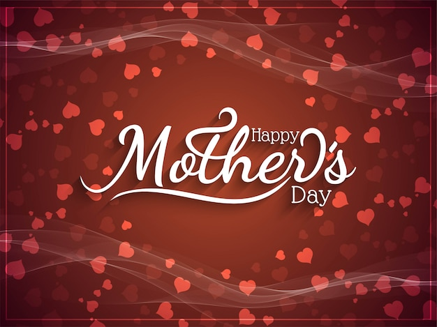 Elegant happy mother's day with hearts Free Vector