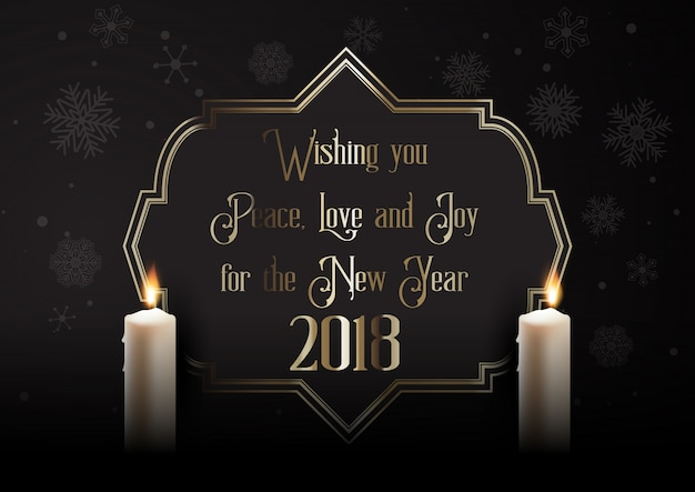 elegant happy new year background with candles free vector